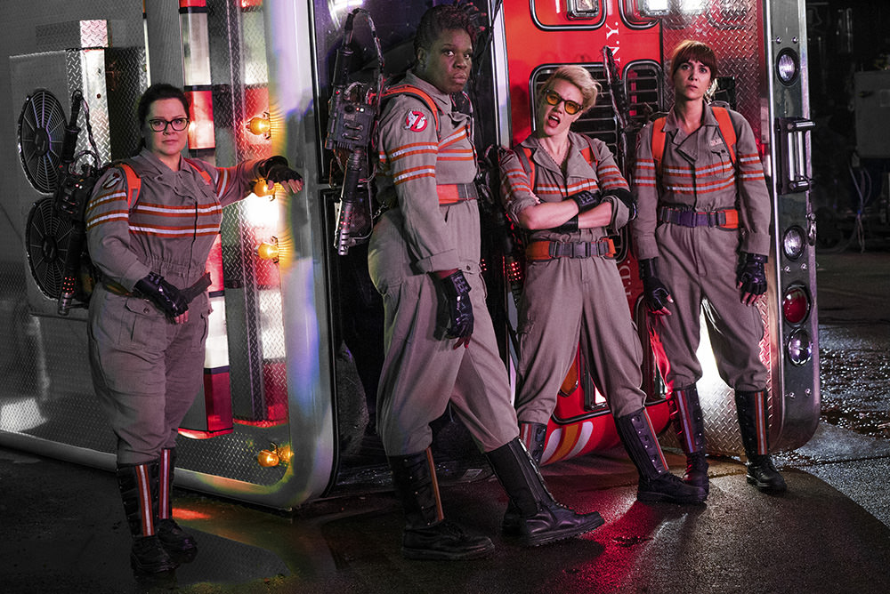 The Ghostbusters Abby (Melissa McCarthy), Patty (Leslie Jones), Holtzmann (Kate McKinnon) and Erin (Kristen Wiig) in Columbia Pictures' GHOSTBUSTERS.